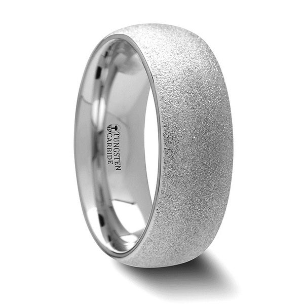 QUARTZ Domed Tungsten Carbide Ring with Sandblasted Crystalline Finish