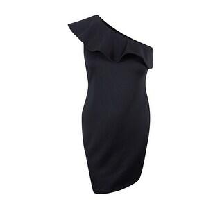 Calvin Klein Women's Petite Ruffled One-Shoulder Sheath Dress - Black