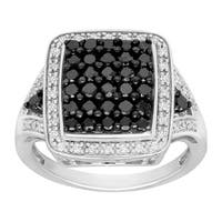 1 ct Black and White Diamond Tile Ring in Sterling Silver