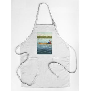 Kayak (Female Version) - Lantern Press Artwork (Cotton/Polyester Chef's Apron)