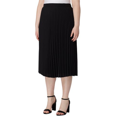 Tahari Womens Pleated Midi Skirt, Black, 16W
