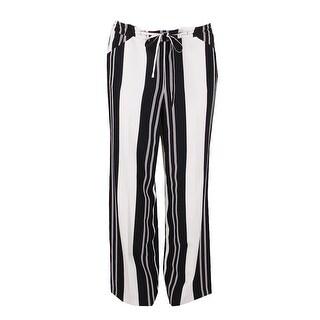 Inc International Concepts Ivory Black Striped Draw String Waist Wide-Leg Pants