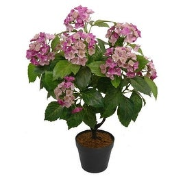 """25.75"""" Decorative Potted Artificial Green and Pink Hydrangea Plant"""