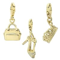 Julieta Jewelry Stiletto, Handbag, Crown 14k Gold Over Sterling Silver Clip-On Charm Set