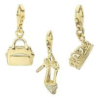 Julieta Jewelry Stiletto, Handbag, Crown 14k Gold Over Sterling Silver Clip-On Charm Set