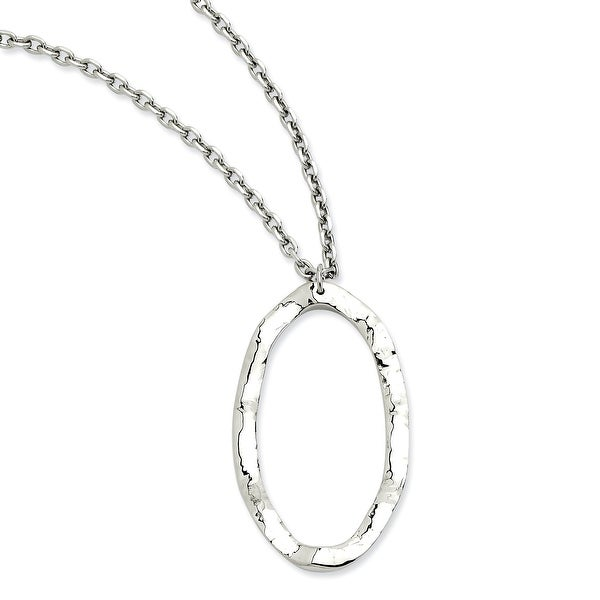 Chisel Stainless Steel Hammered Oval Pendant 18 with 2 Inch Extension Necklace (3 mm) - 18 in
