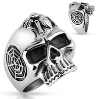 Skull with Spider Stainless Steel Ring (Sold Ind.)
