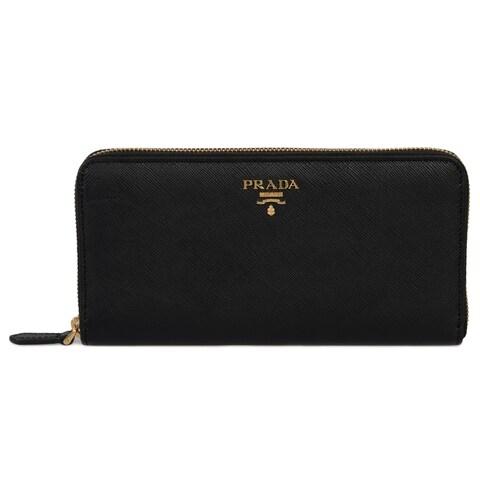 Prada Black Saffiano Leather Zip-Up Wallet 1ML506 QWA F0002