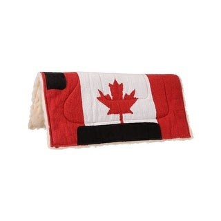 Tough-1 Saddle Pad Acrylic Canadian Flag Pad Fleece Red White