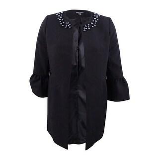 Link to Nine West Women's Jewel-Neck Flyaway Blazer (4, Black) Similar Items in Suits & Suit Separates