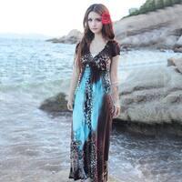Bohemian Leopard Print Maxi Dress in 2 Colors