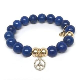 Julieta Jewelry Peace Sign Charm Blue Jade Bracelet