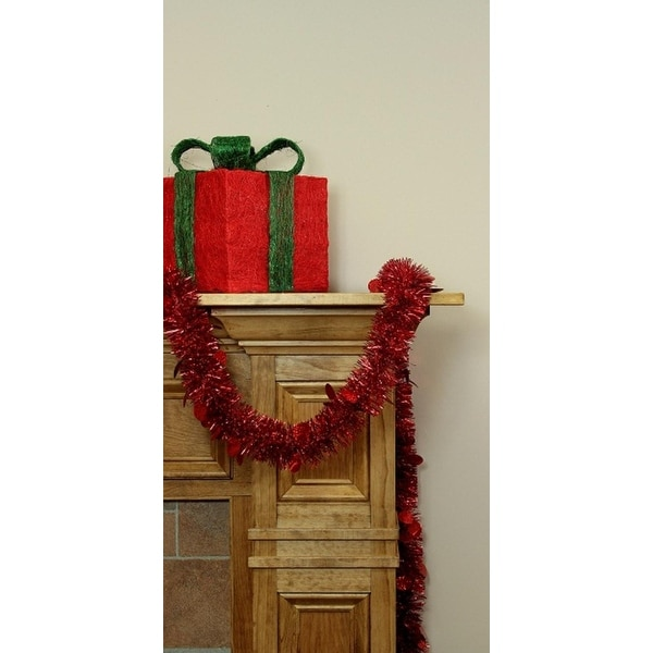 50' Festive Shiny Red Christmas Tinsel Garland with Holographic Polka Dots - Unlit - 5 Ply (Pack of 3)