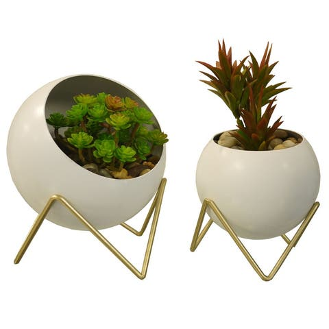 "Spherical Planter, Gold, White, Set of 2 - 8'6"" x 13'"