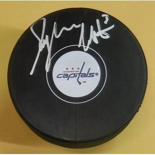 Sylvain Cote Autographed Washington Capitals Hockey Puck JSA