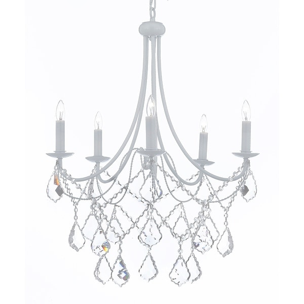 White Wrought Iron Chandelier Chandeliers Lighting Crystal Light Fixture Country French