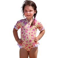 Sun Emporium Little Girls Yellow Pink Cherry Blossom Print Frill Swimsuit