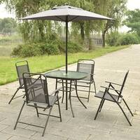 Costway Patio Garden Set Furniture with Folding Chairs Table with Umbrella Gray - deep gray