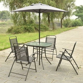 Costway Patio Garden Set Furniture With Folding Chairs Table With Umbrella  Gray
