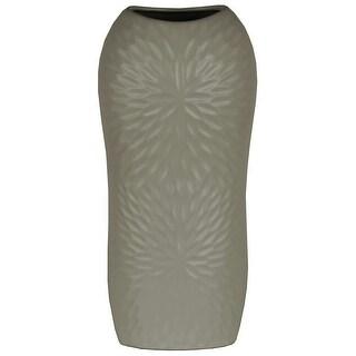 Ceramic Tall Engraved Leaf Design Half-Circle Vase, Large, Gray