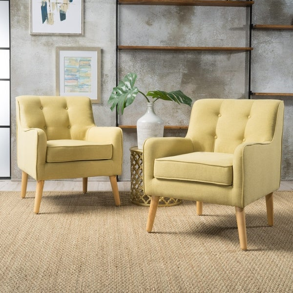 Felicity Mid-Century Modern Fabric Tufted Arm Chair (Set of 2) by Christopher Knight Home. Opens flyout.