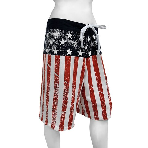 American Flag Stars and Stripes Distressed Board Shorts