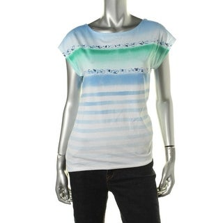 LRL Lauren Jeans Co. Womens Cotton Striped Pullover Top
