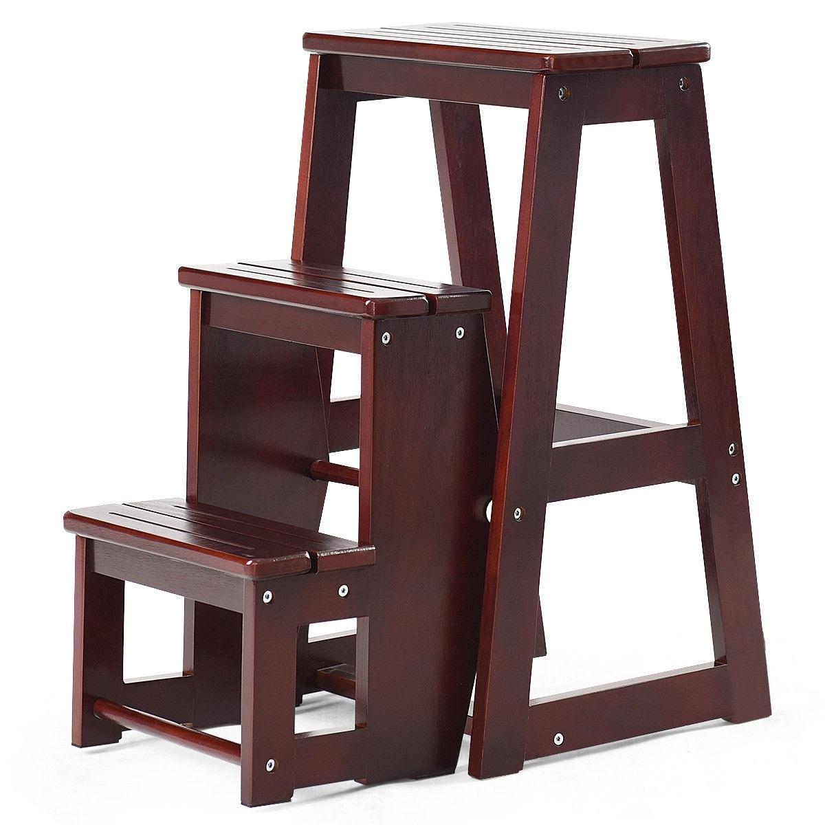 Sensational 5 Steps Wooden Ladder Chair Step Stool Multifunction Machost Co Dining Chair Design Ideas Machostcouk