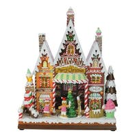 "15"" Amusements LED Musical and Animated Gingerbread Store Christmas Tabletop Decoration - brown"