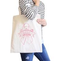 Warrior Breast Cancer Awareness Canvas Tote Cute Pink Ribbon Design