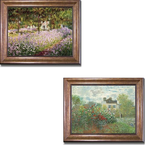 Artist's Garden at Giverny & Argenteuil by Monet 2-pc Bronze-Gold Framed Canvas Art Set (16 in x 20 in Each Framed Size)