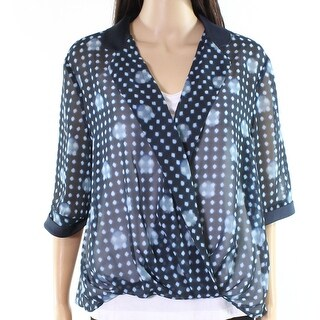 Armani NEW Blue Womens Size 6 Surplice Sheer Hi-Low Printed Blouse