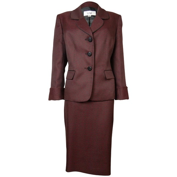 Le Suit Women's Woven Dot Pattern Bordeaux Skirt Suit