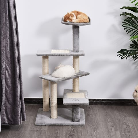 """PawHut 40"""" 5-Level Revolving Stair Cat Tree Scratcher Climbing Activity Tower with Play Center and Resting Perch, Grey"""