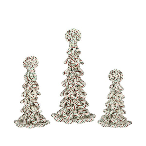 Set of 3 Peppermint Twist Red, Green and White Candy Cane Christmas Tree Tabletop Decorations