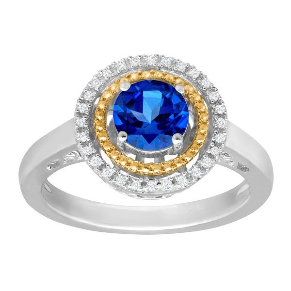 1 1/6 ct Created Sapphire Ring with Diamonds in Sterling Silver and 14K Gold