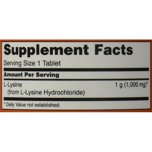 Now Foods - L-Lysine 1000 mg 100 tabs