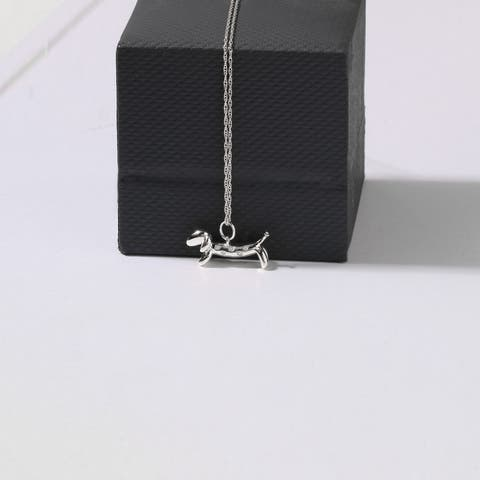 1/20ct TDW Diamond Animal Dachshund Dog Pendant Necklace in Sterling Silver