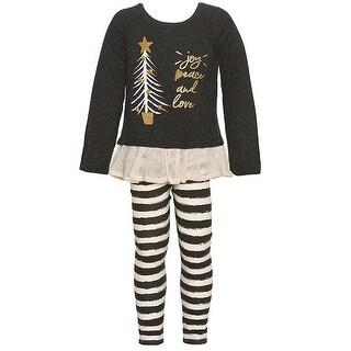 Rare Editions Little Girls Charcoal Gold Christmas Tree 2 Pc Legging Set
