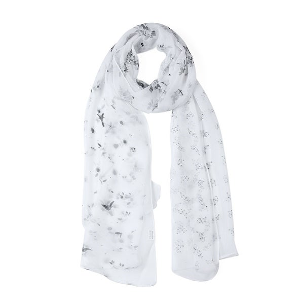 Long Chiffon Beach Scarf Silk Scarves Floral Scarves for Women White-1