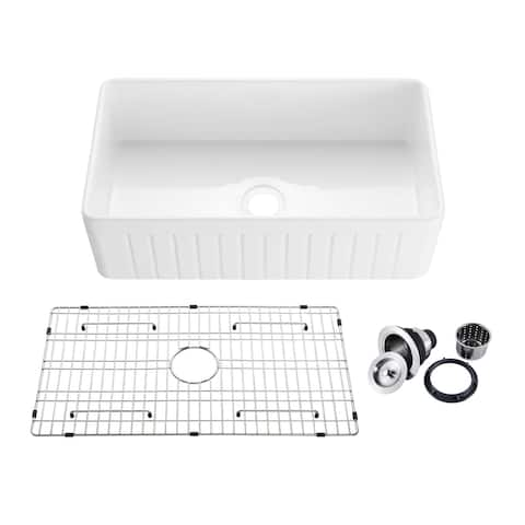 """33"""" White Fireclay Farmhouse Undermount Kitchen Sink with Bottom Grid and Strainer"""