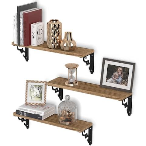 "Wallniture Ravello 17""x4.5"" Wood Floating Shelves, Living Room Wall Decor (Set of 3)"
