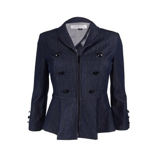 Tahari ASL Women's Petite Denim Zip-Front Peplum Jacket - chambray blue