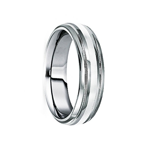 BLANDUS 18K White Gold Inlaid Tungsten Carbide Wedding Band by Crown Ring - 6mm