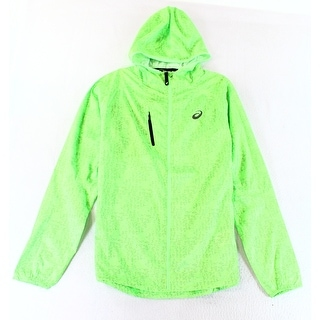 Asics NEW Green Mens Size Large L Hooded Printed Full Zip Jacket