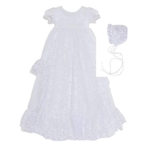 Baby Girls White Lace 3pc Christening Gown Bonnet Headband Set