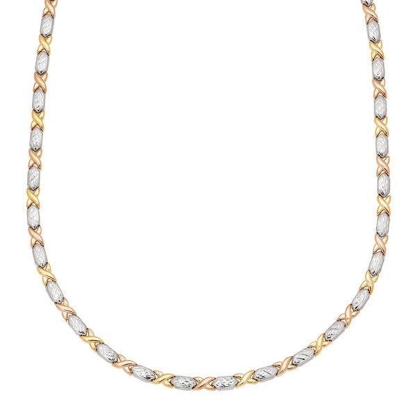 Eternity Gold 'XO' Link Necklace in 14K Two-Tone Gold with Rhodium Plate