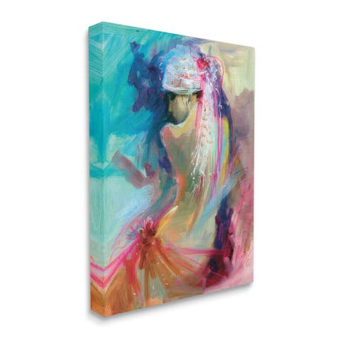 Stupell Industries Colorful Abstract Nude Female Portrait Back Canvas Wall Art - Multi-Color