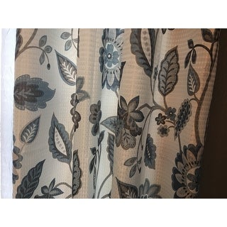 SunSmart Laurel Jacquard Floral Printed Room Darkening Grommet Single Curtain Panel