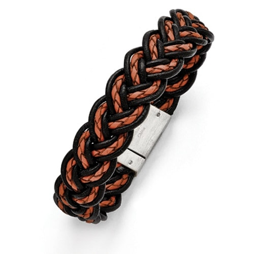 Chisel Stainless Steel Brushed Black and Orange Woven Leather Bracelet